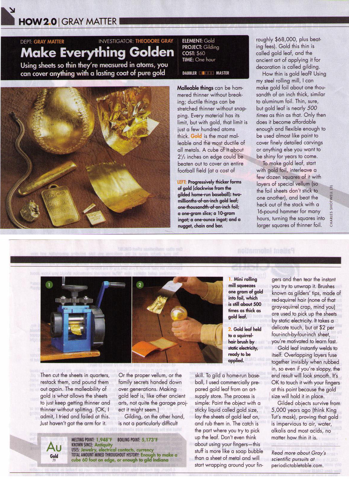 Make Everything Golden Popular Science Column By Theodore Gray
