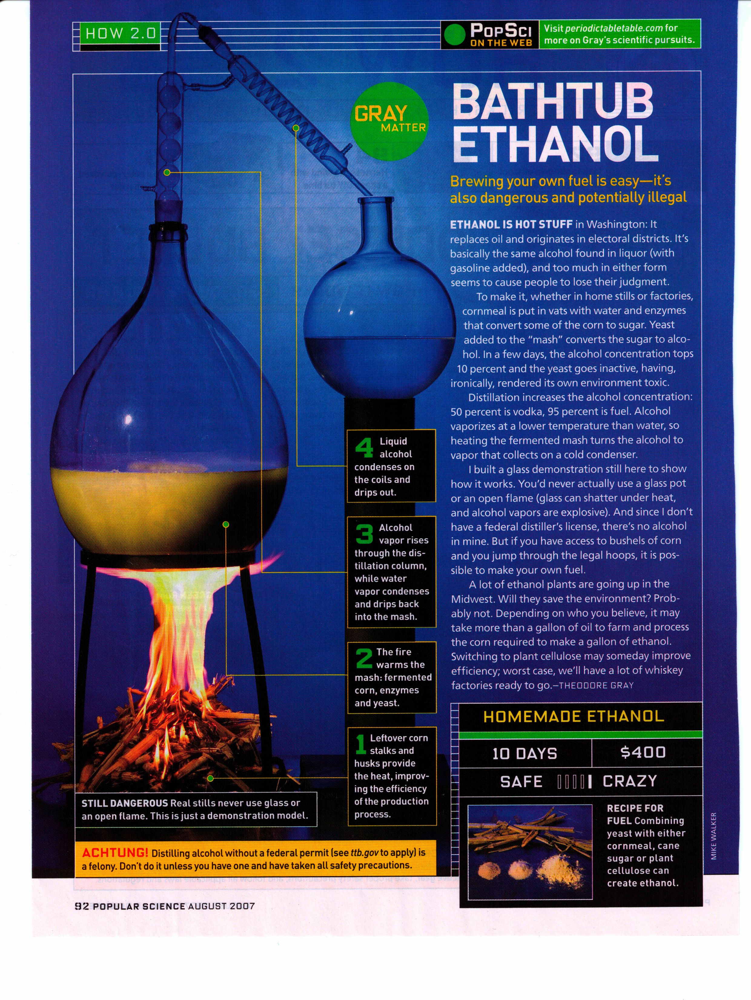 make your own ethanol popular science column by theodore gray
