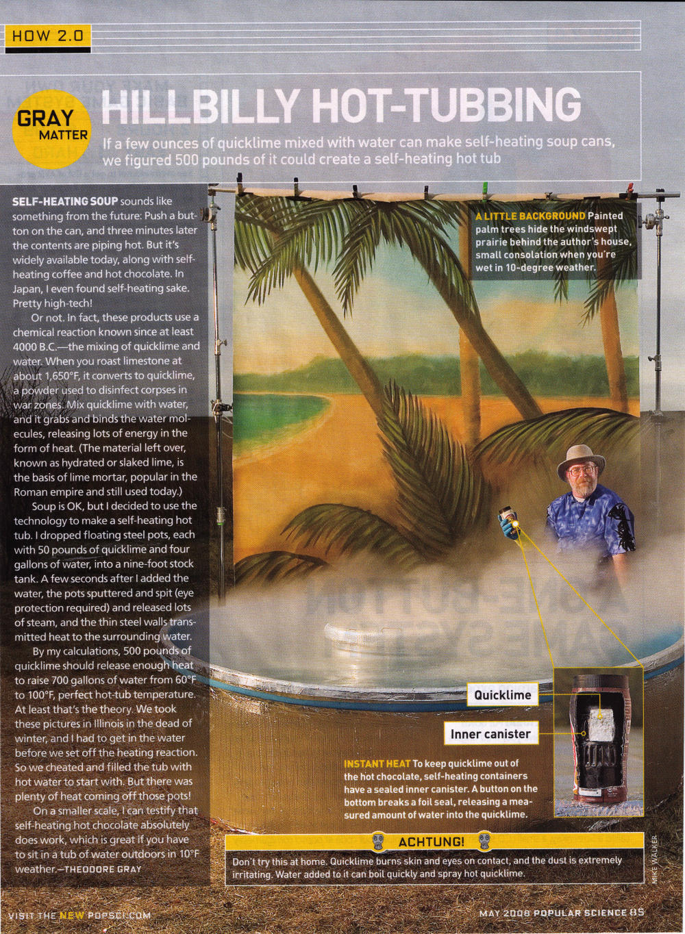 Instant Hot Tub : The instant hot tub popular science column by theodore gray