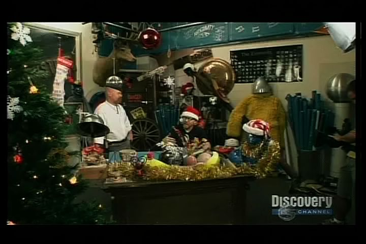 see video clip - Mythbusters Christmas Tree