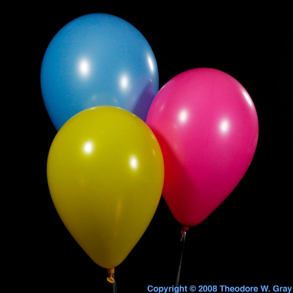 Classic helium balloons, a sample of the element Helium in ...