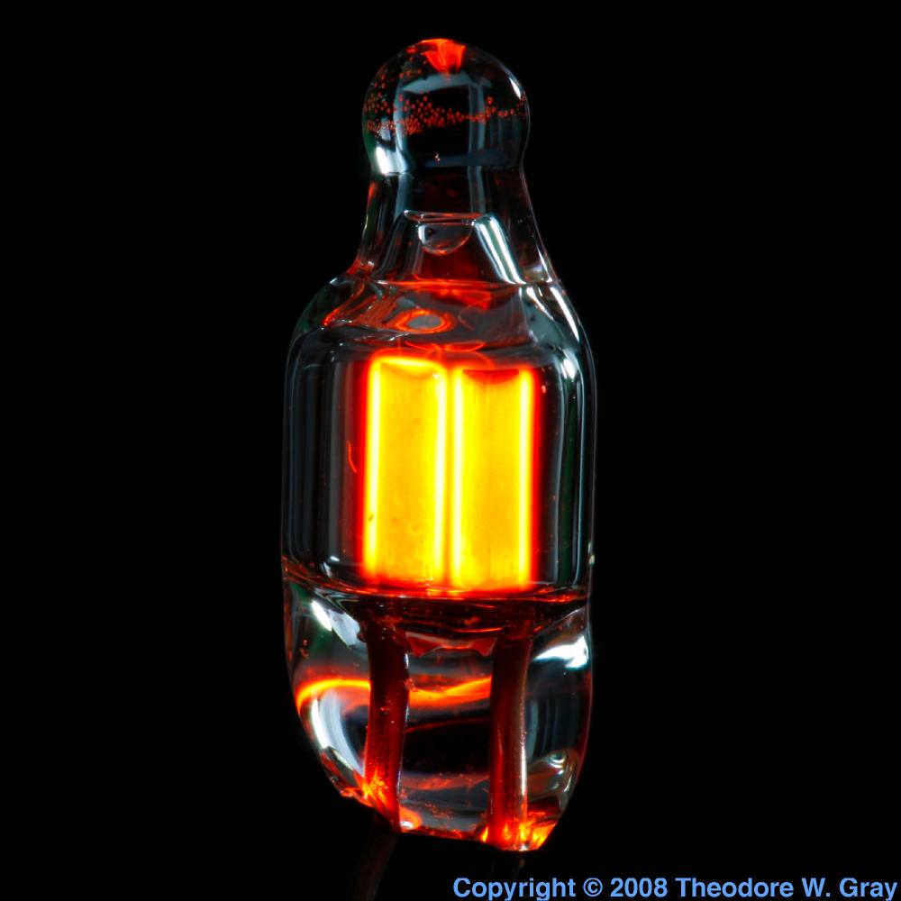 Tiny Neon Bulb Lit A Sample Of The Element Neon In The