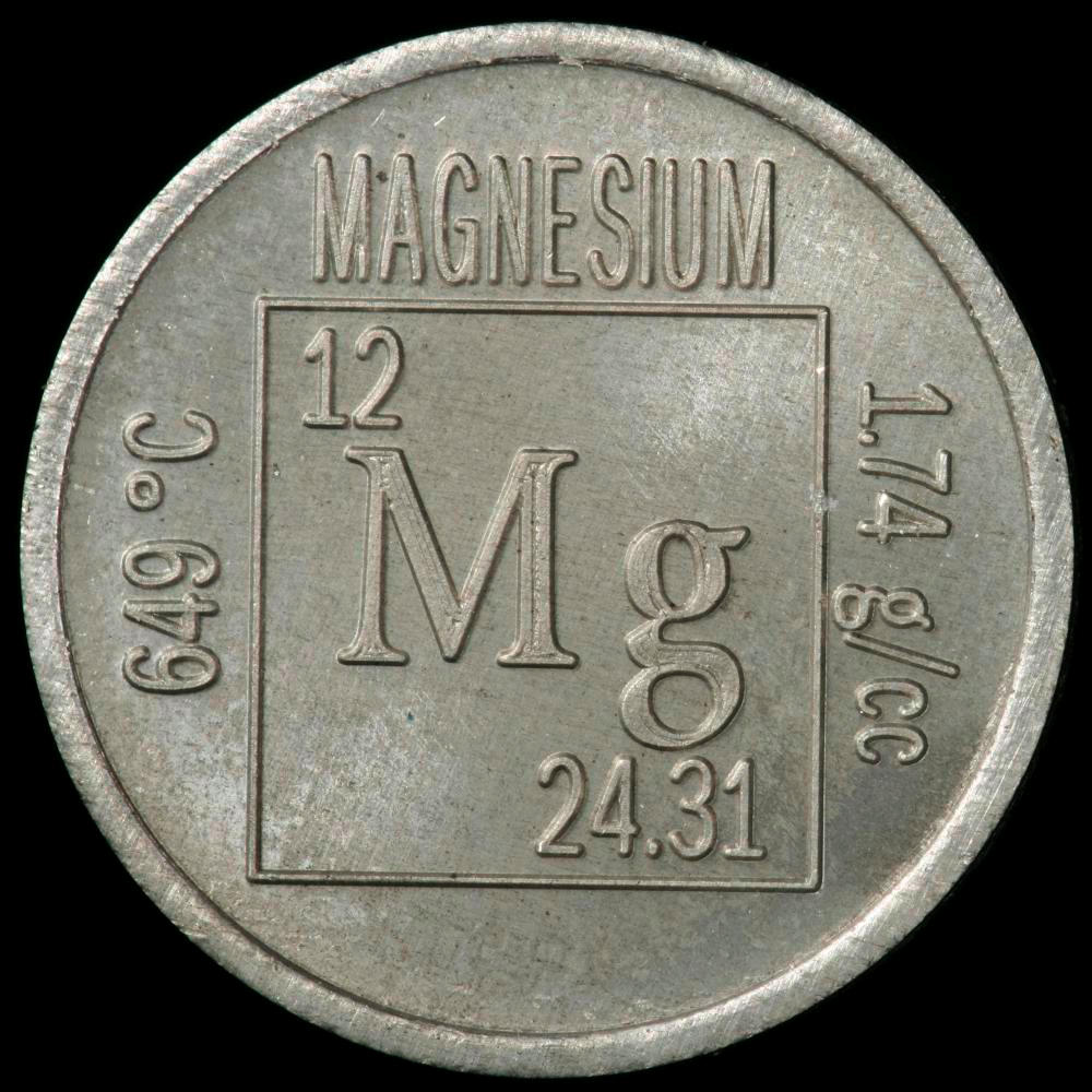 Element coin, a sample of the element Magnesium in the Periodic Table