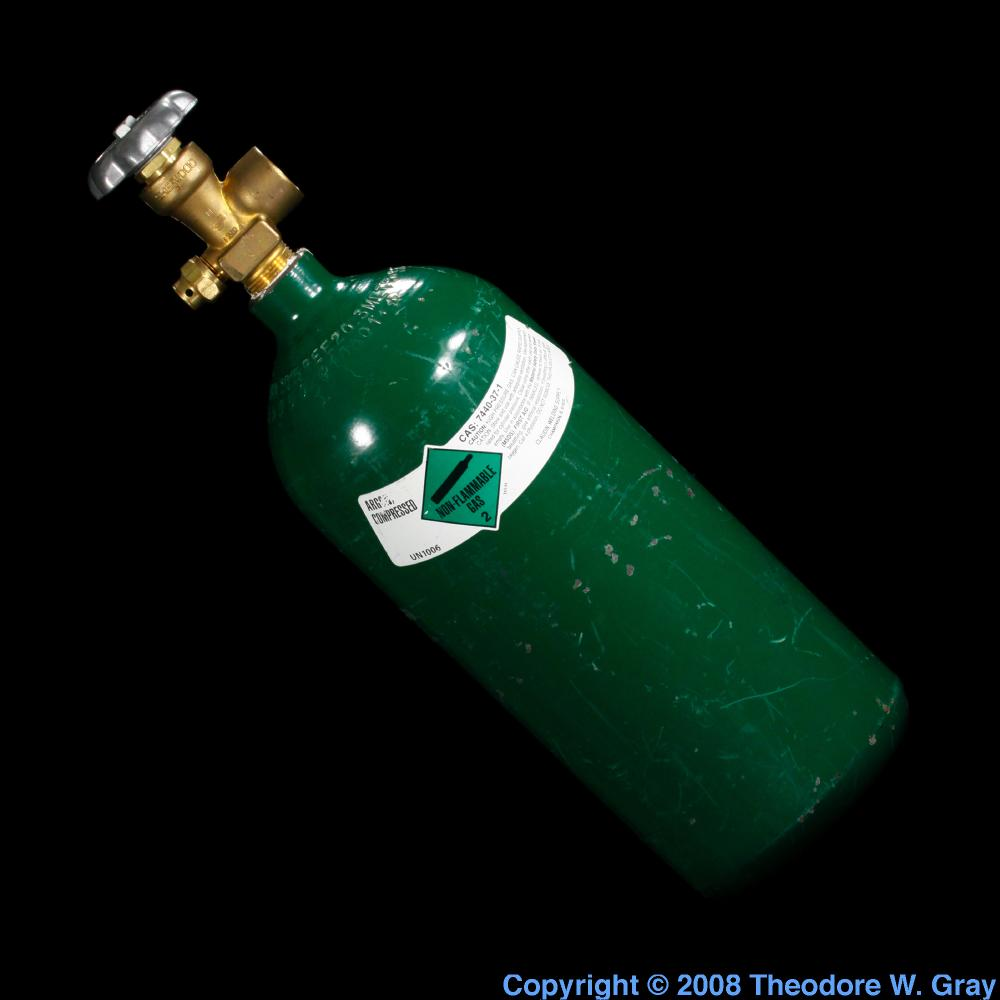 High pressure cylinder, a sample of the element Argon in ... Argon Uses