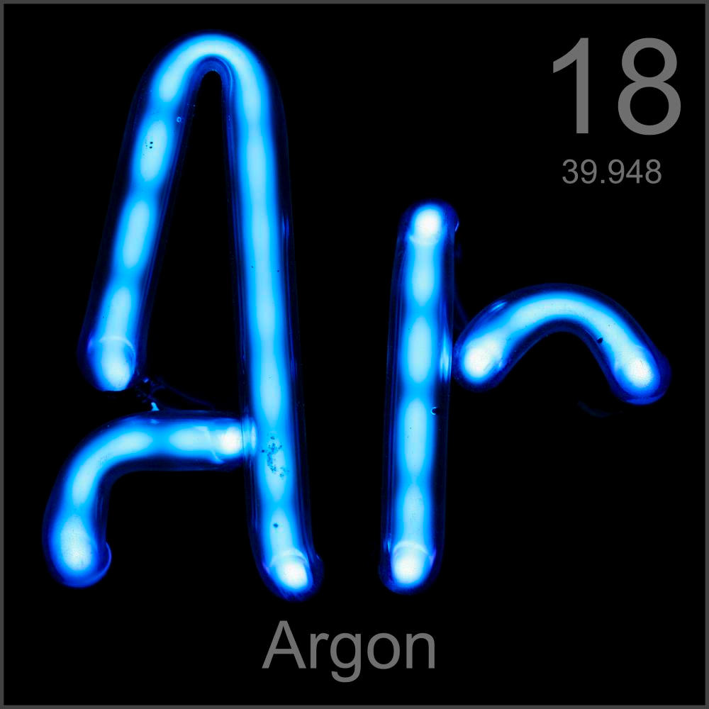 Museum-grade sample, a sample of the element Argon in the ...
