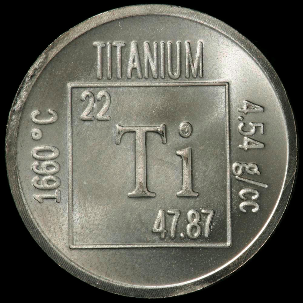 Element coin, a sample of the element Titanium in the Periodic Table -> Table Tv En Coin