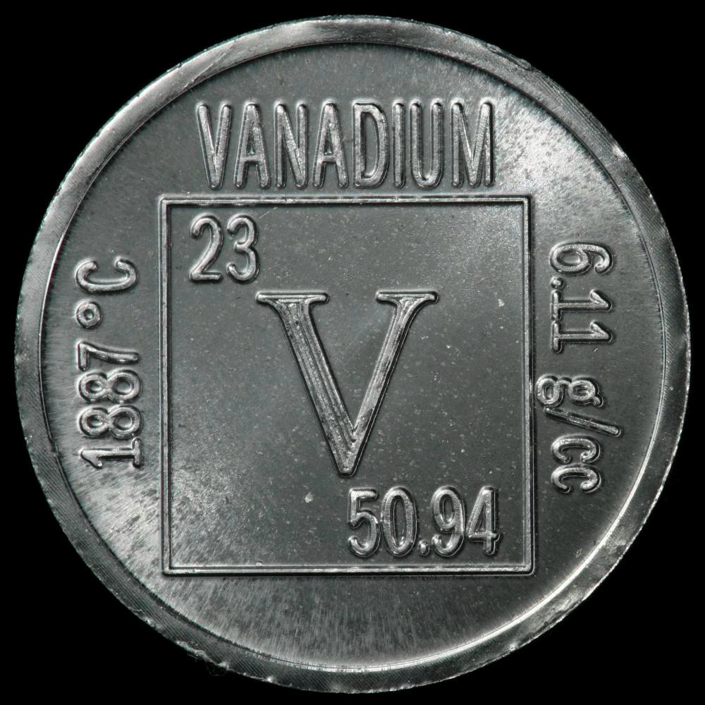 element coin  a sample of the element vanadium in the