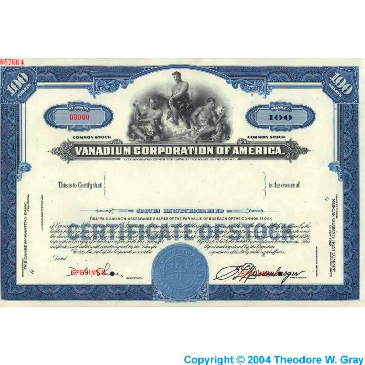 Vanadium Stock certificate