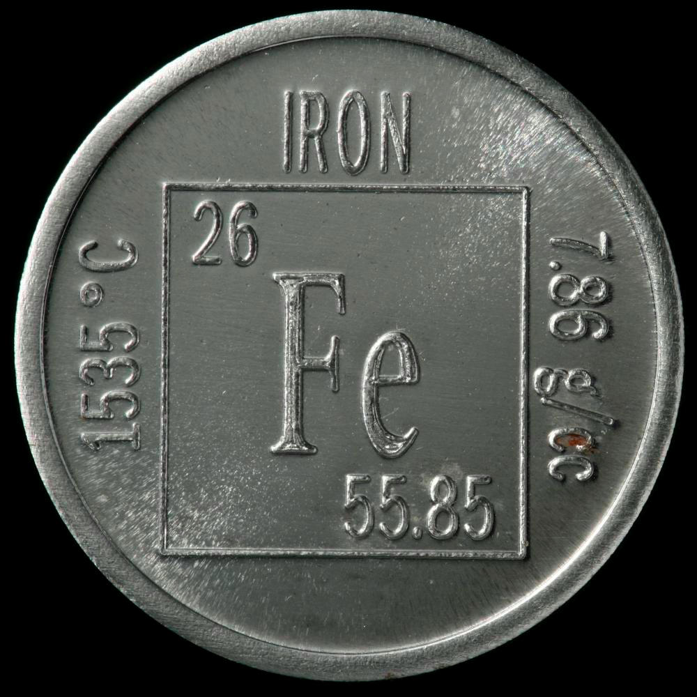 Element coin a sample of the element iron in the periodic table iron element coin gamestrikefo Choice Image