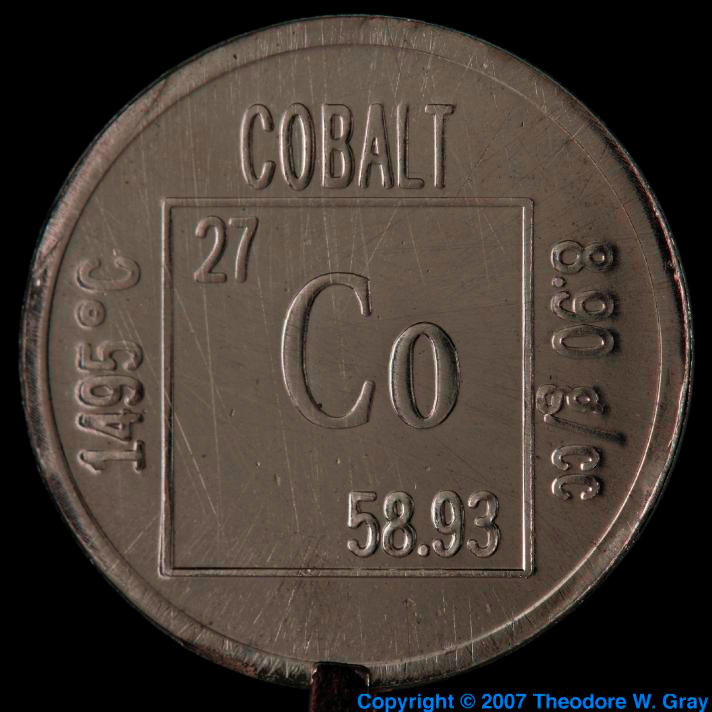 chemical element and cobalt Cobalt is a chemical element with atomic number 27 and symbol co know the  uses of cobalt, chemical properties of cobalt, atomic mass,.