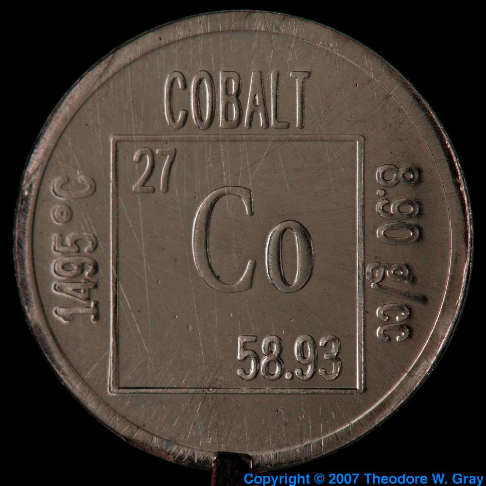 Element coin a sample of the element cobalt in the periodic table cobalt element coin gamestrikefo Image collections
