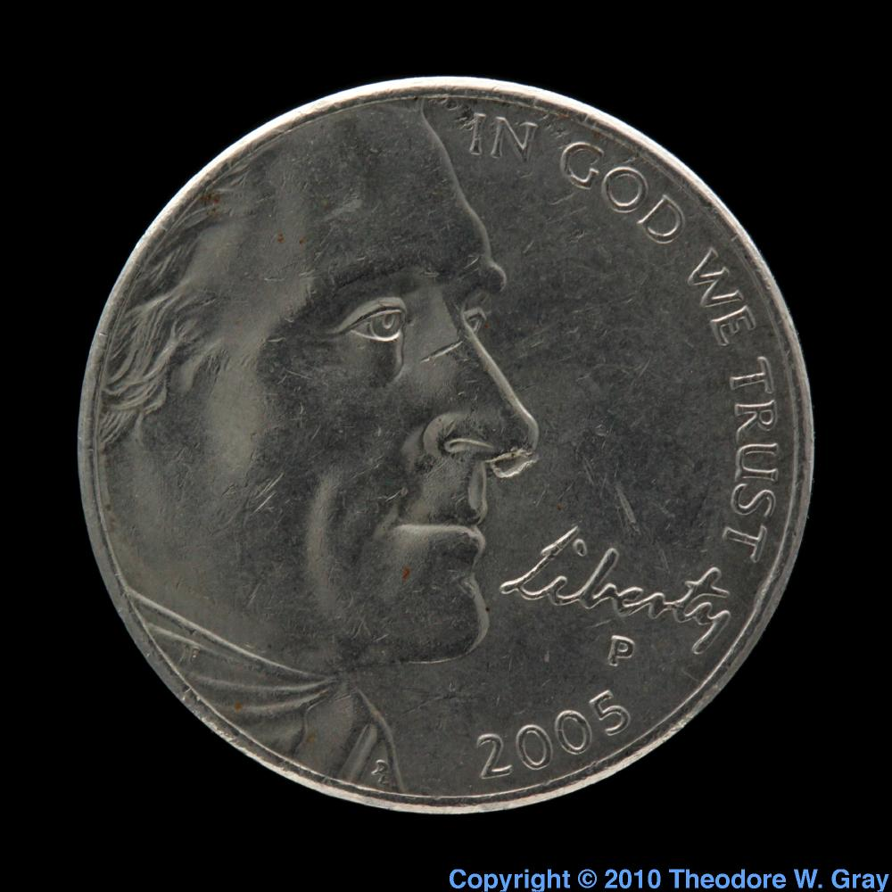 Us nickel coin a sample of the element nickel in the periodic table nickel us nickel coin gamestrikefo Image collections