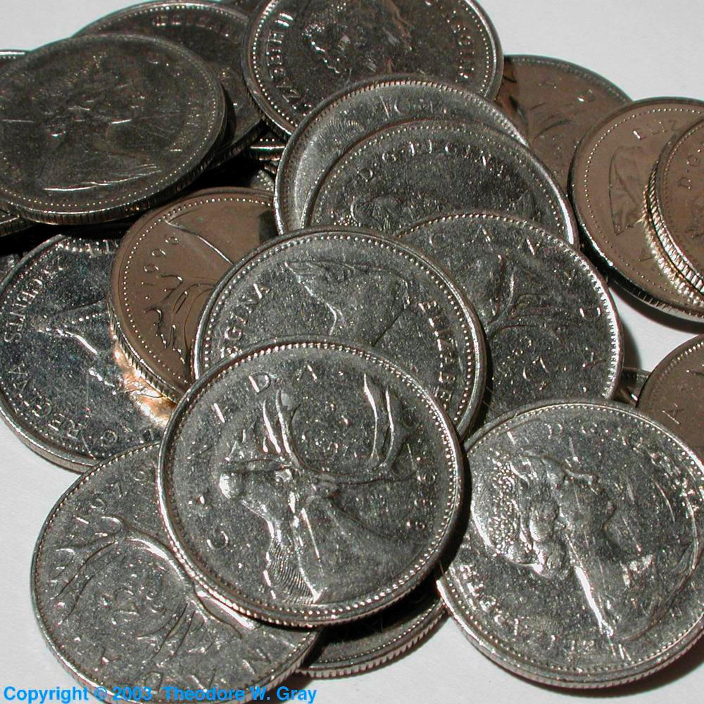 Canadian Quarters A Sample Of The Element Nickel In The