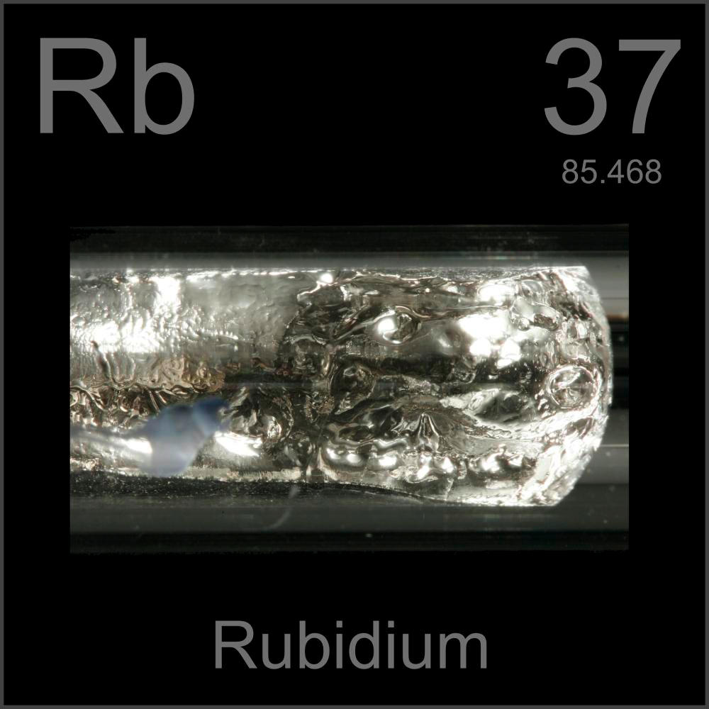 Ampule, a sample of the element Rubidium in the Periodic Table