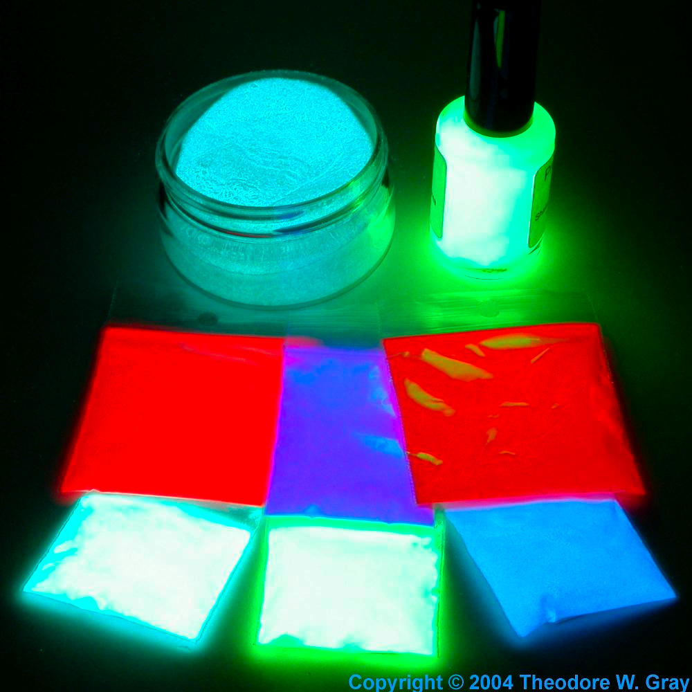 assorted glow in the dark paints a sample of the element strontium in. Black Bedroom Furniture Sets. Home Design Ideas