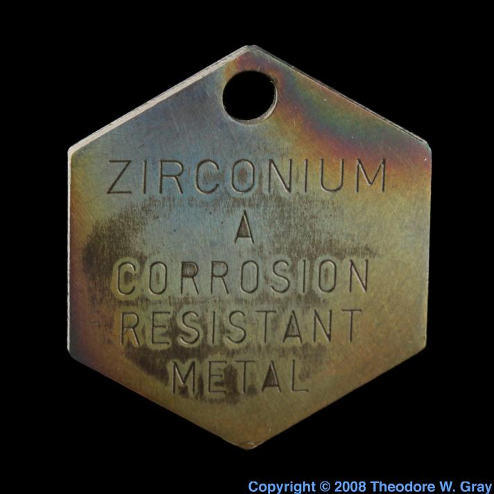 Zirconium Wah Chang tag, hexagonal