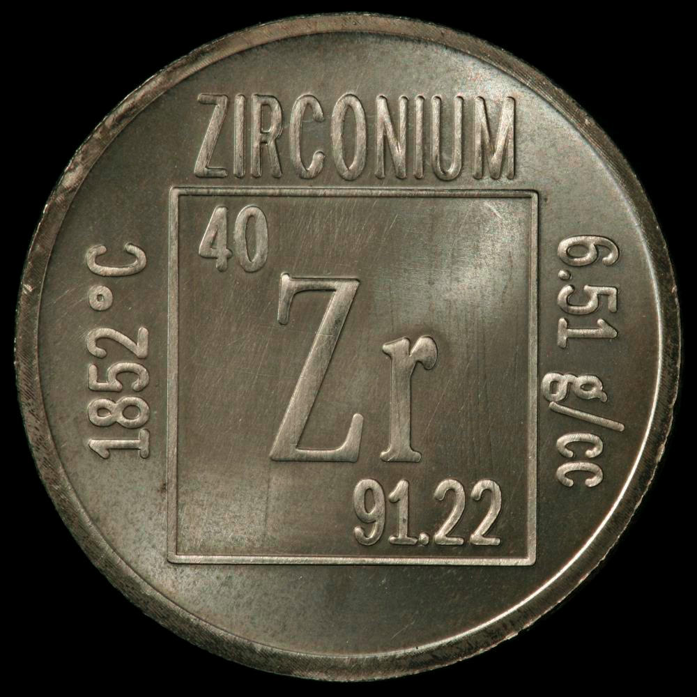 Element coin, a sample of the element Zirconium in the Periodic Table