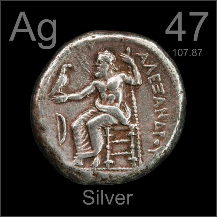 Element Silvers: Tetradrachm, A Sample Of The Element Silver In The