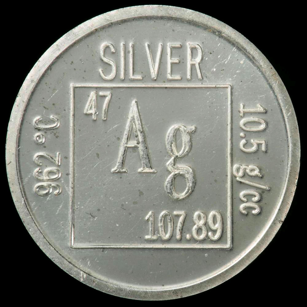 Element coin a sample of the element silver in the periodic table silver element coin gamestrikefo Image collections