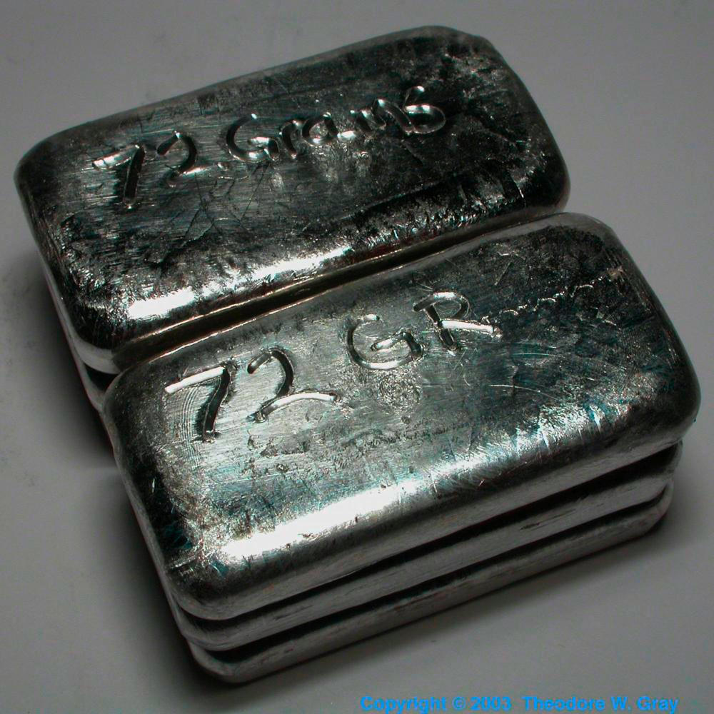 Six 70g ingots a sample of the element indium in the periodic table indium six 70g ingots gamestrikefo Image collections