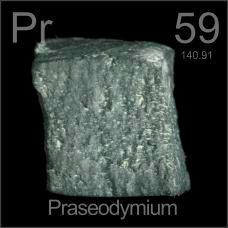 Praseodymium Cube under oil