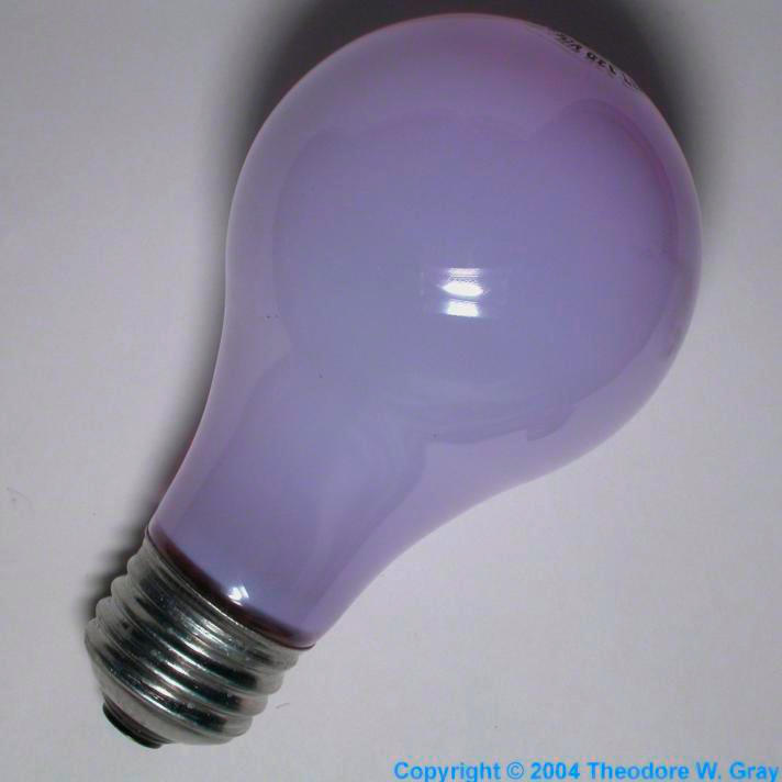 Daylight incandescent bulb, a sample of the element ...