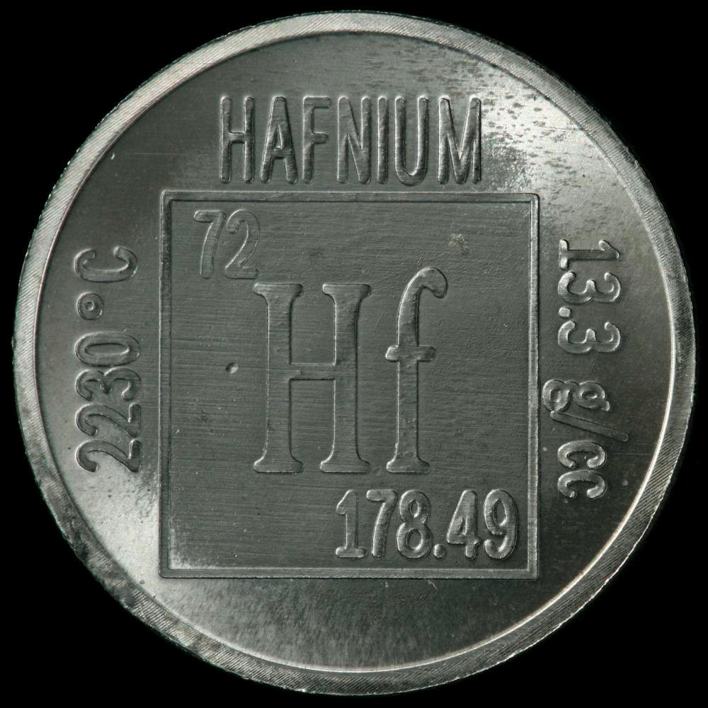 Hafnium Element Element coin, a sample...