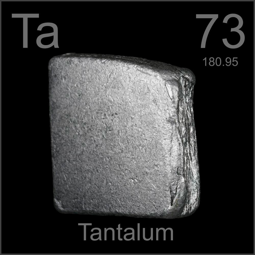 Slab, a sample of the element Tantalum in the Periodic Table