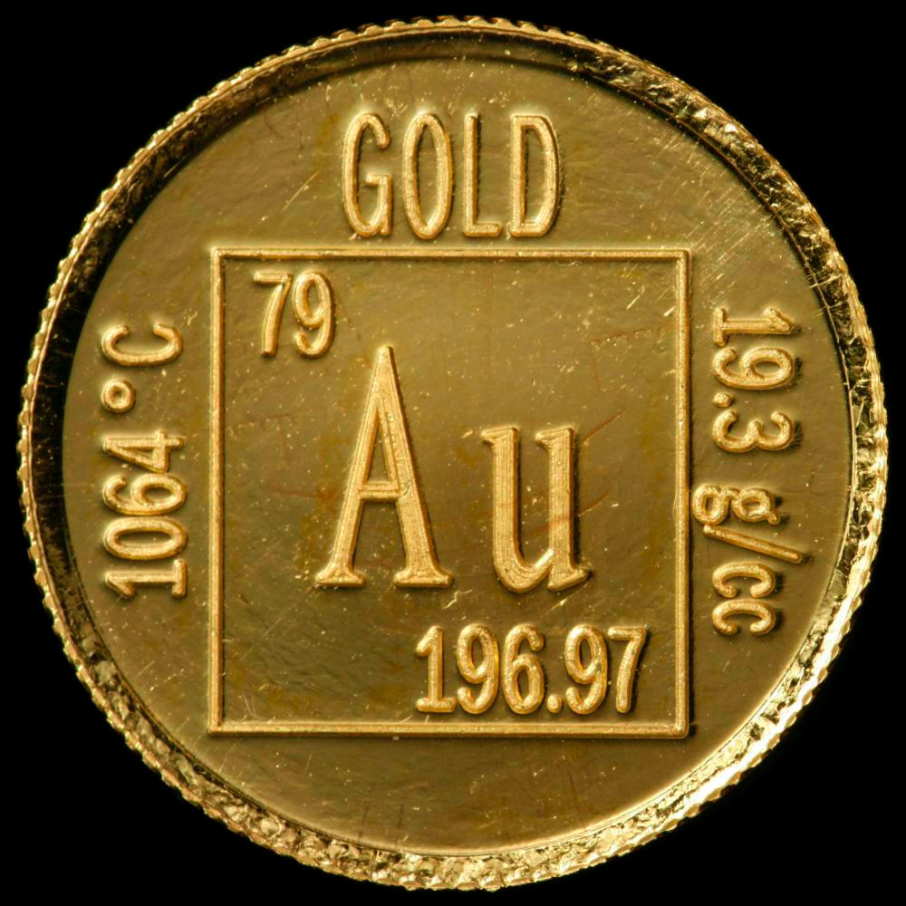 Element coin a sample of the element gold in the periodic table gold element coin urtaz Image collections