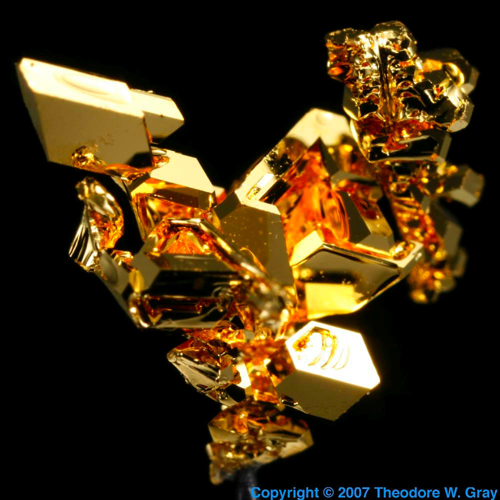 Vapor Deposited Crystal A Sample Of The Element Gold In The