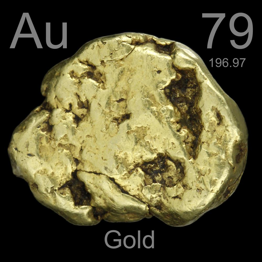 antique nugget  a sample of the element gold in the