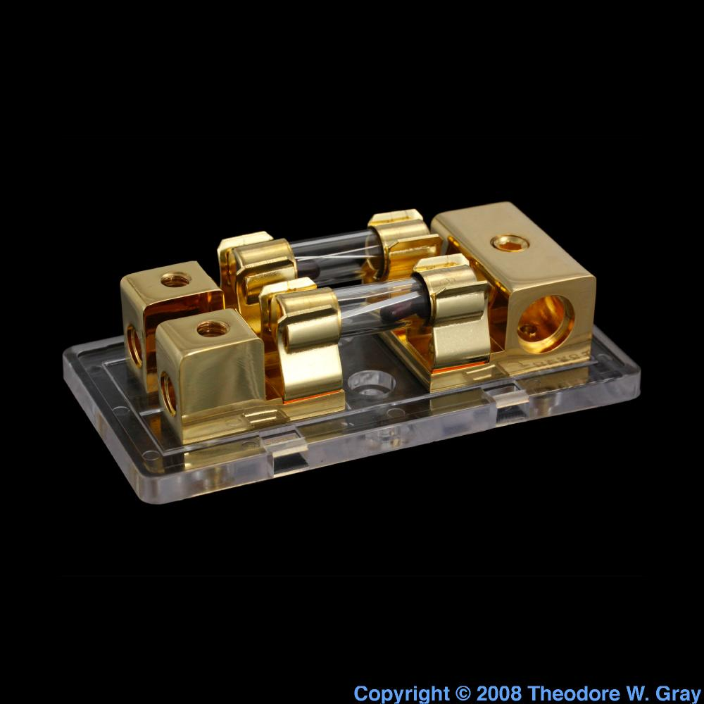 Gold-plated fuse box, a sample of the element Gold in the