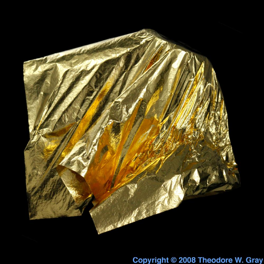Gold leaf, a sample of the element Gold in the Periodic Table