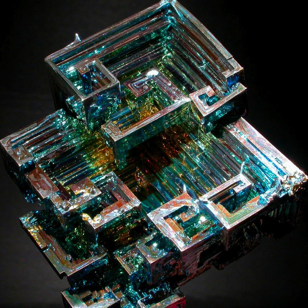 Bismut & Bismut Architectes stunning crystal, a sample of the element bismuth in the