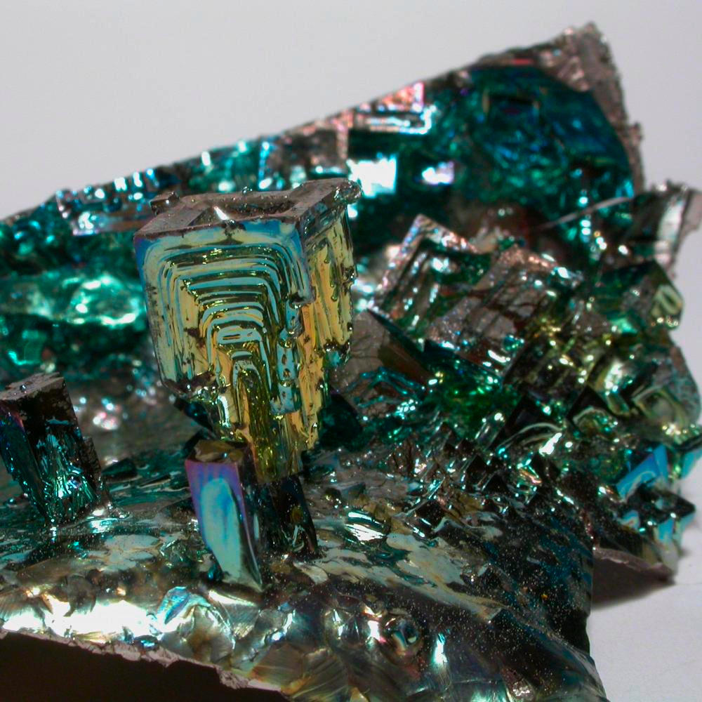 crystal garden  a sample of the element bismuth in the