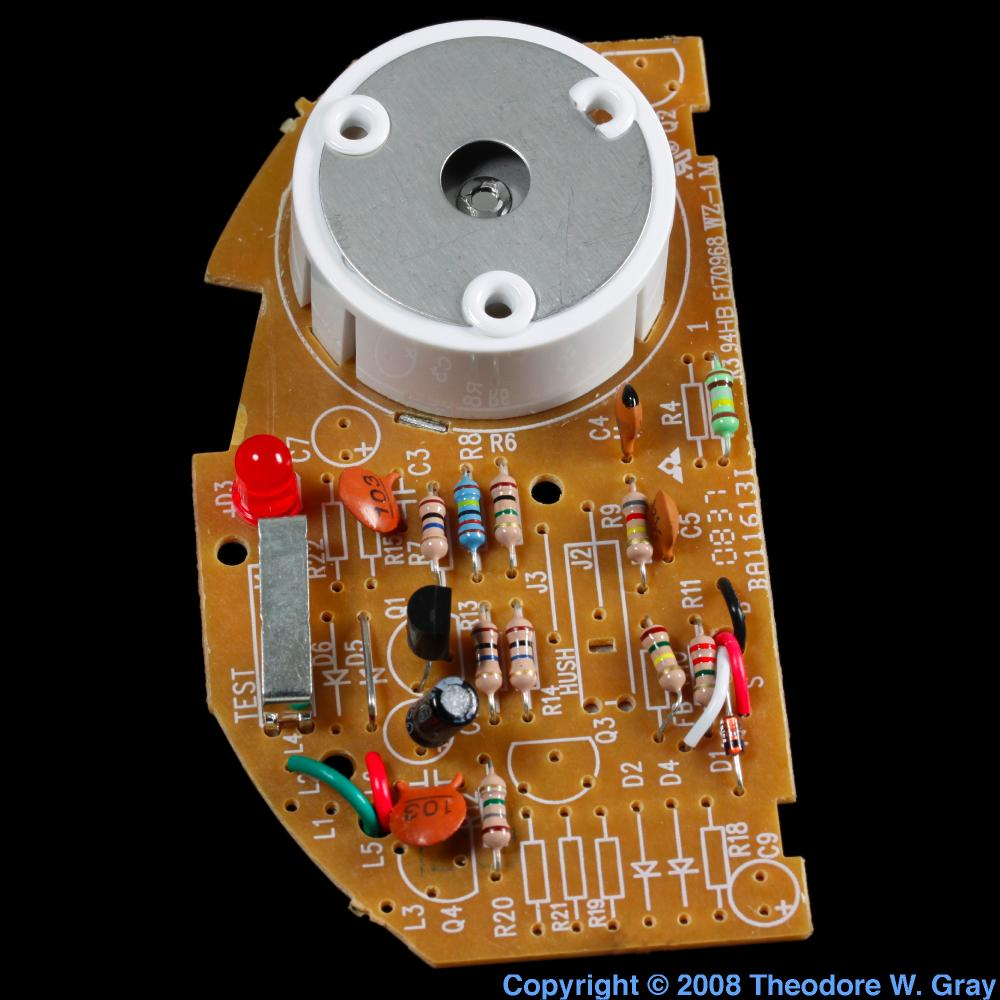 Smoke Detector Circuit Board A Sample Of The Element Americium In The