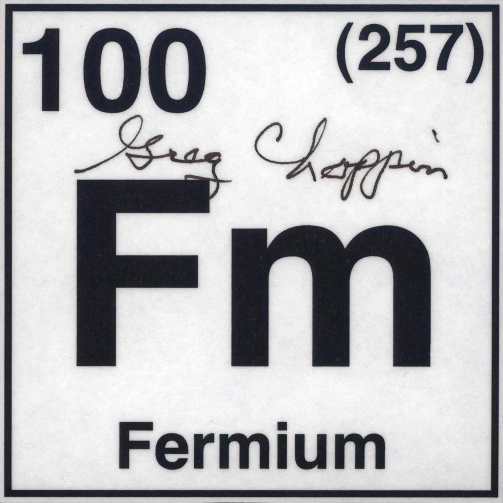 Autographed card a sample of the element fermium in the periodic fermium autographed card gamestrikefo Choice Image
