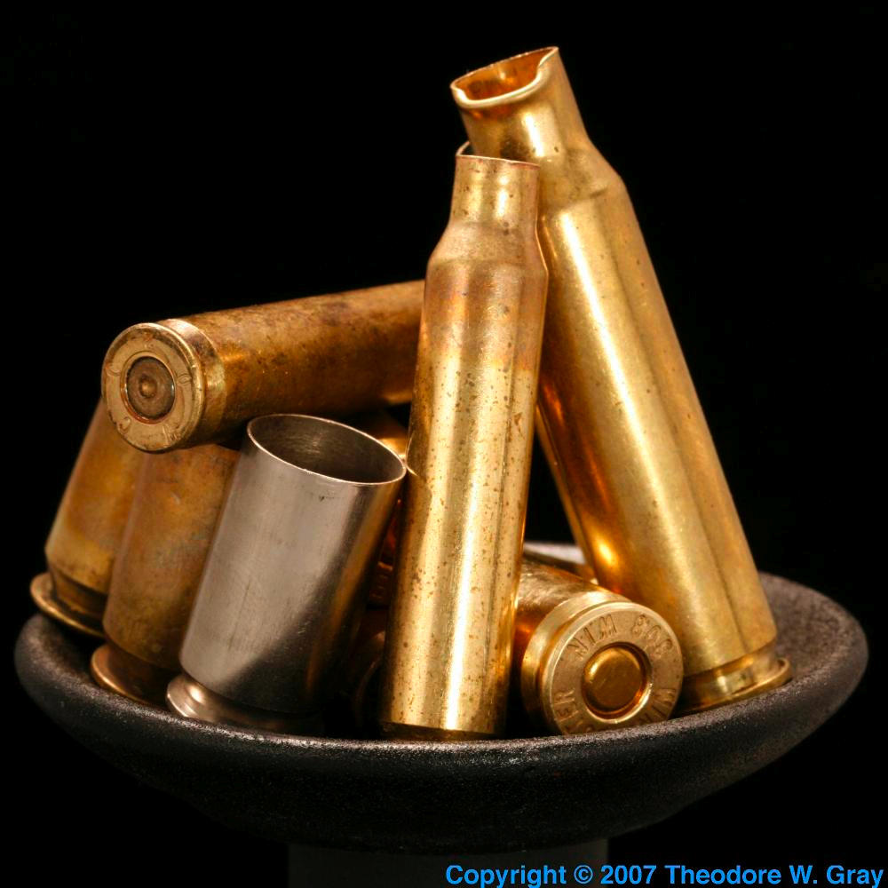 Brass shell casings, a sample of the element Zinc in the Periodic ...