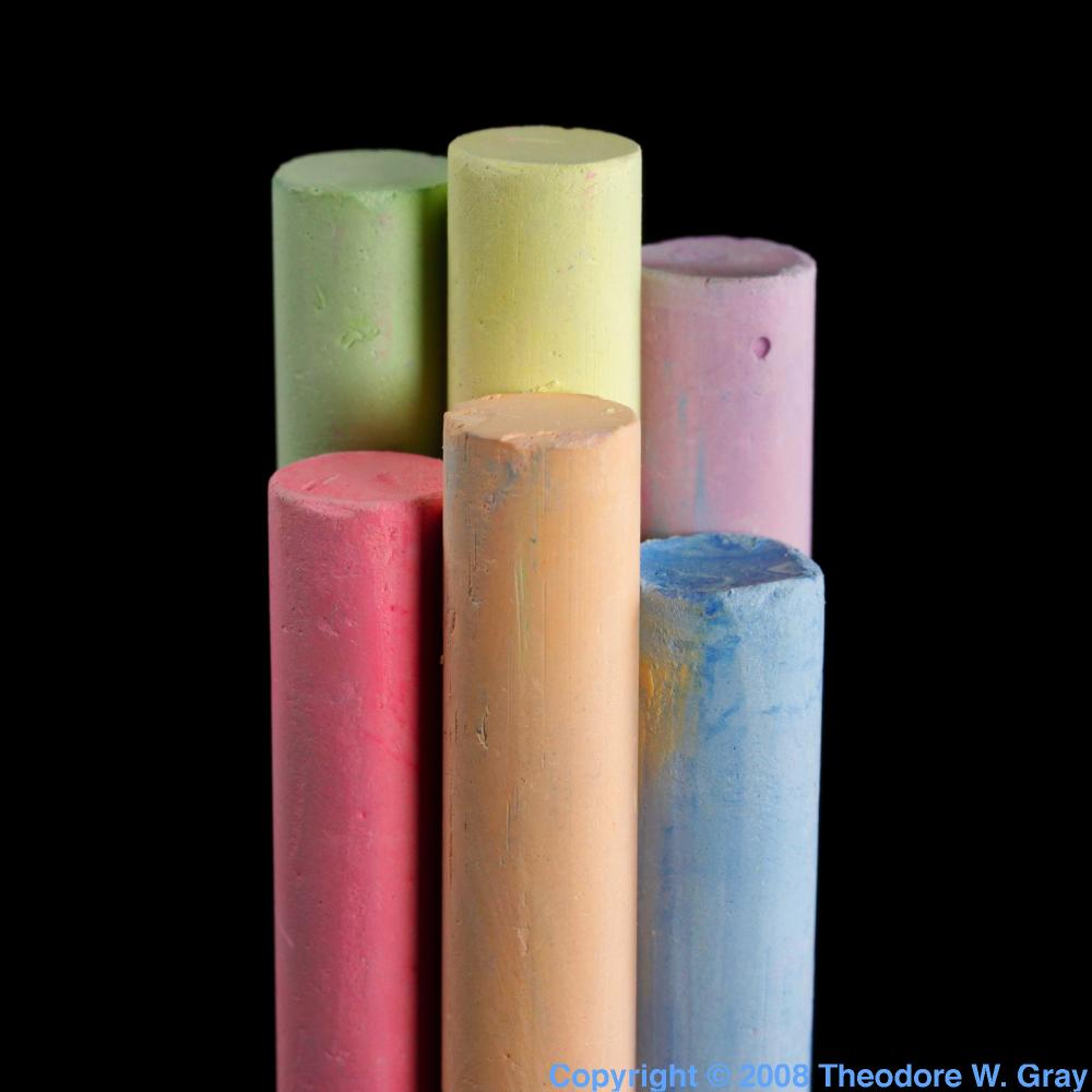 colored chalk  a sample of the element calcium in the