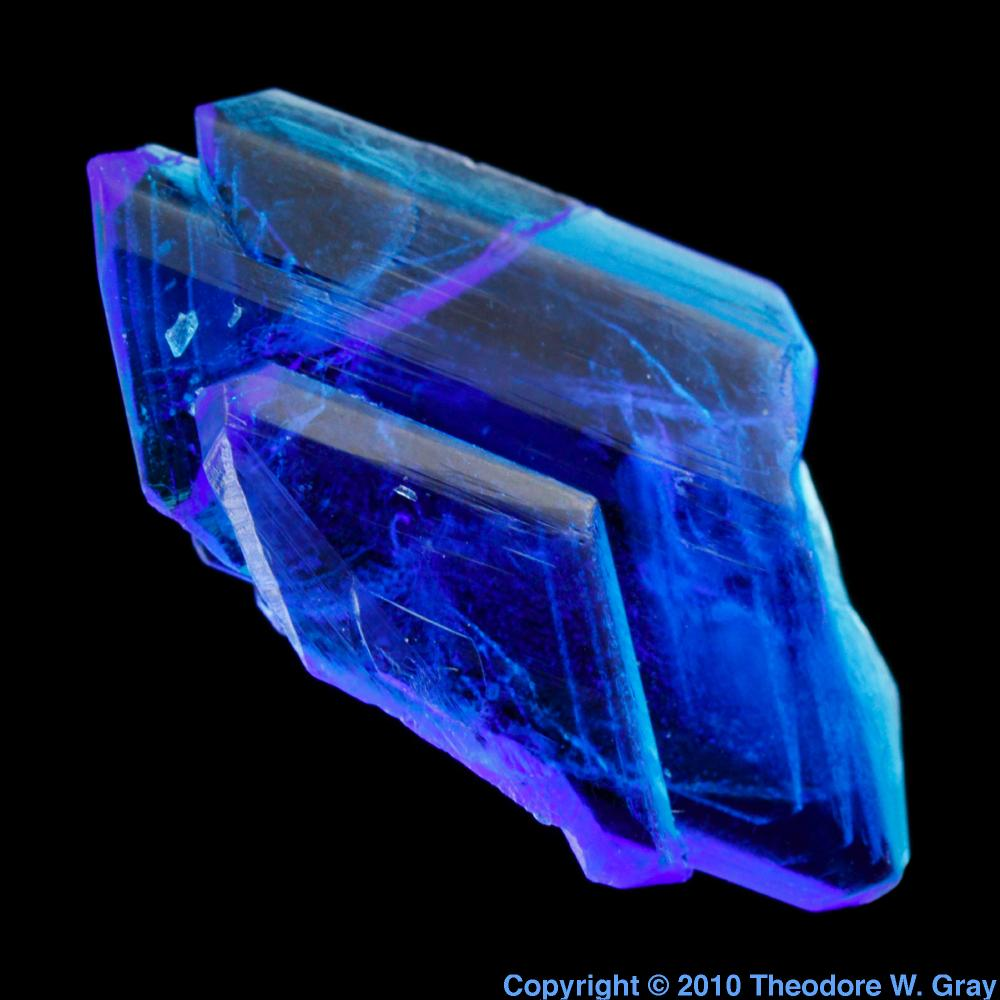 Copper sulfate crystal, a sample of the element Copper in the ...