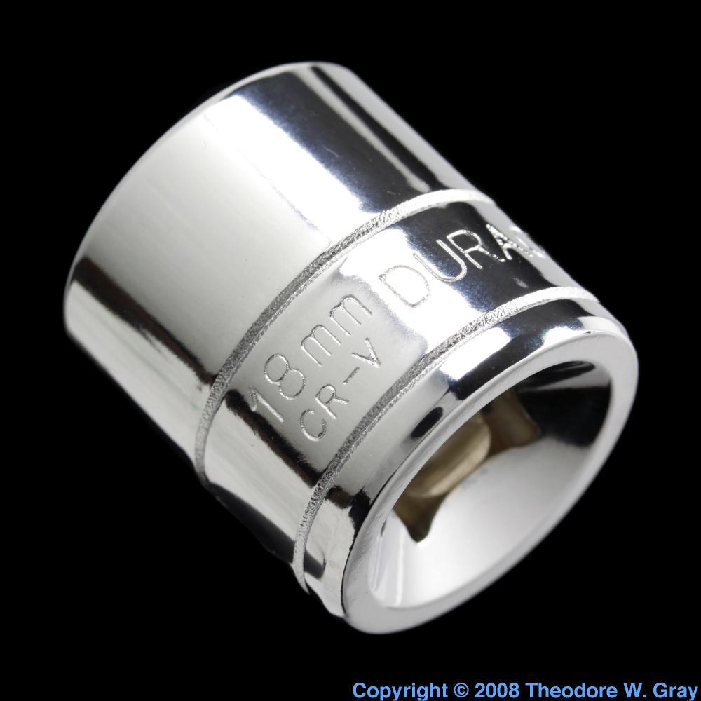Chrome-vanadium steel socket, a sample of the element Iron ...