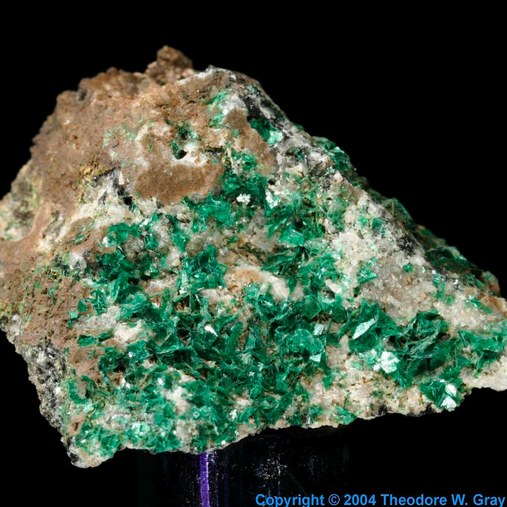 Torbernite, a sample of the element Uranium in the Periodic Table